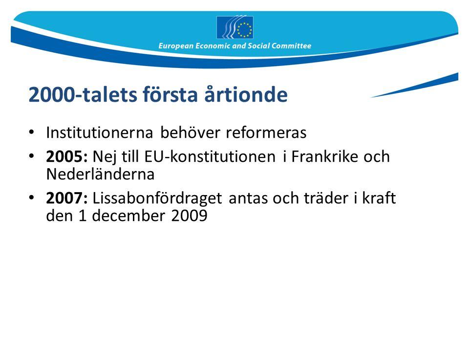 2000-talets första årtionde Institutionerna behöver reformeras 2005: Nej till EU-konstitutionen i Frankrike och Nederländerna 2007: Lissabonfördraget antas och träder i kraft den 1 december 2009