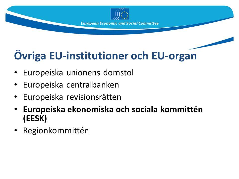 Övriga EU-institutioner och EU-organ Europeiska unionens domstol Europeiska centralbanken Europeiska revisionsrätten Europeiska ekonomiska och sociala kommittén (EESK) Regionkommittén