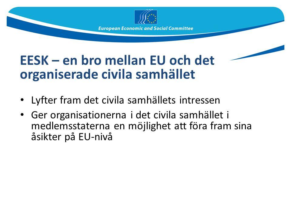 EESK – en bro mellan EU och det organiserade civila samhället Lyfter fram det civila samhällets intressen Ger organisationerna i det civila samhället i medlemsstaterna en möjlighet att föra fram sina åsikter på EU-nivå