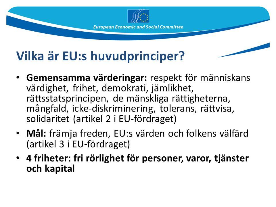Europaparlamentet Har tillsammans med rådet befogenhet att stifta lagar Övervakar (tillsammans med rådet) EU:s budget och EU-institutionernas politik Har 751 ledamöter, valda i allmänna val Val vart femte år Talman: Martin Schulz