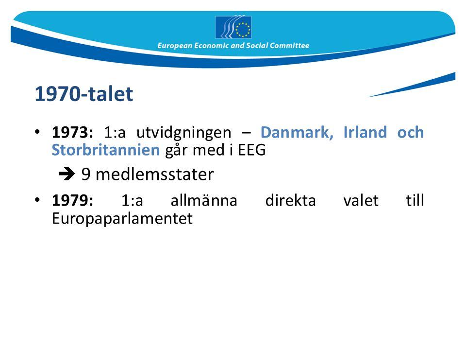 1970-talet 1973: 1:a utvidgningen – Danmark, Irland och Storbritannien går med i EEG  9 medlemsstater 1979: 1:a allmänna direkta valet till Europaparlamentet