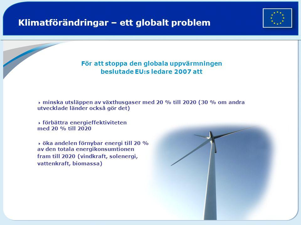 Klimatförändringar – ett globalt problem För att stoppa den globala uppvärmningen beslutade EU:s ledare 2007 att  minska utsläppen av växthusgaser med 20 % till 2020 (30 % om andra utvecklade länder också gör det)  förbättra energieffektiviteten med 20 % till 2020  öka andelen förnybar energi till 20 % av den totala energikonsumtionen fram till 2020 (vindkraft, solenergi, vattenkraft, biomassa)