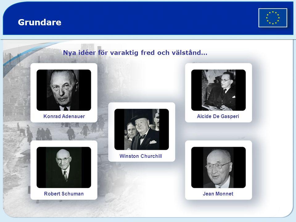 Grundare Nya idéer för varaktig fred och välstånd… Konrad Adenauer Robert Schuman Winston Churchill Alcide De Gasperi Jean Monnet