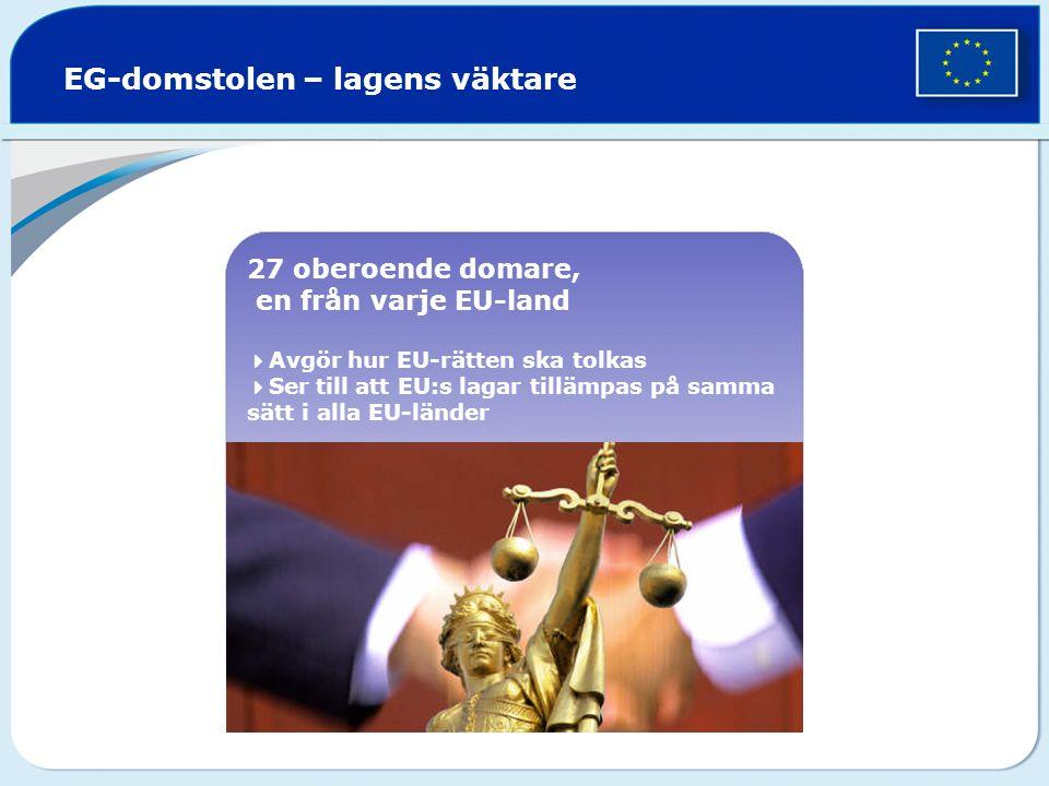 27 oberoende domare, en från varje EU-land  Avgör hur EU-rätten ska tolkas  Ser till att EU:s lagar tillämpas på samma sätt i alla EU-länder EG-domstolen – lagens väktare