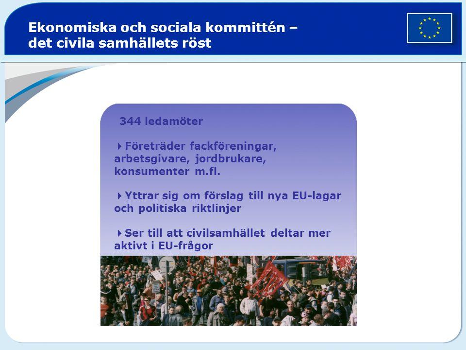  344 ledamöter  Företräder fackföreningar, arbetsgivare, jordbrukare, konsumenter m.fl.