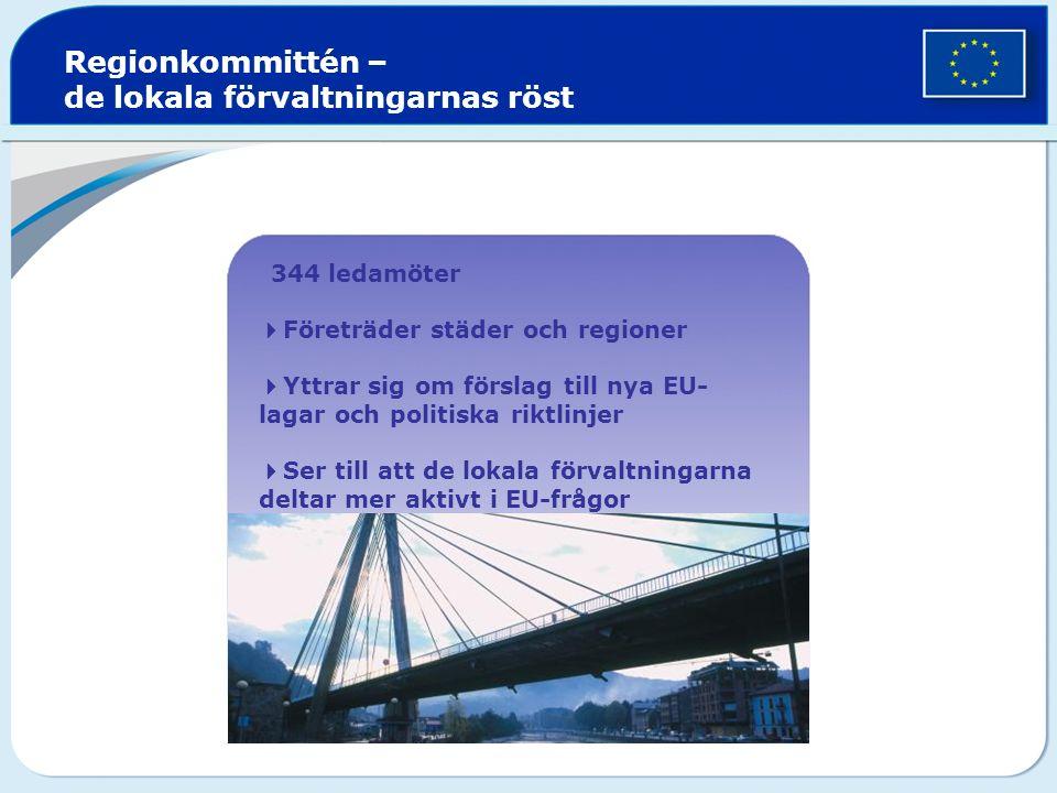  344 ledamöter  Företräder städer och regioner  Yttrar sig om förslag till nya EU- lagar och politiska riktlinjer  Ser till att de lokala förvaltningarna deltar mer aktivt i EU-frågor Regionkommittén – de lokala förvaltningarnas röst