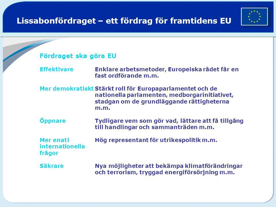 Fördraget ska göra EU Effektivare Enklare arbetsmetoder, Europeiska rådet får en fast ordförande m.m.