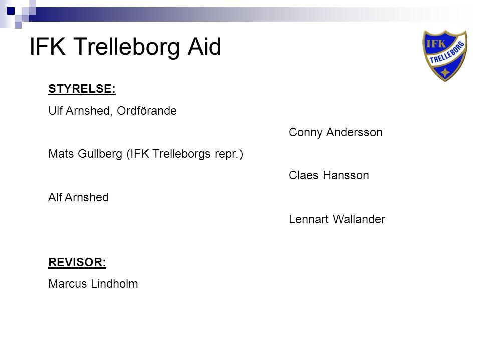 IFK Trelleborg Aid STYRELSE: Ulf Arnshed, Ordförande Conny Andersson Mats Gullberg (IFK Trelleborgs repr.) Claes Hansson Alf Arnshed Lennart Wallander REVISOR: Marcus Lindholm