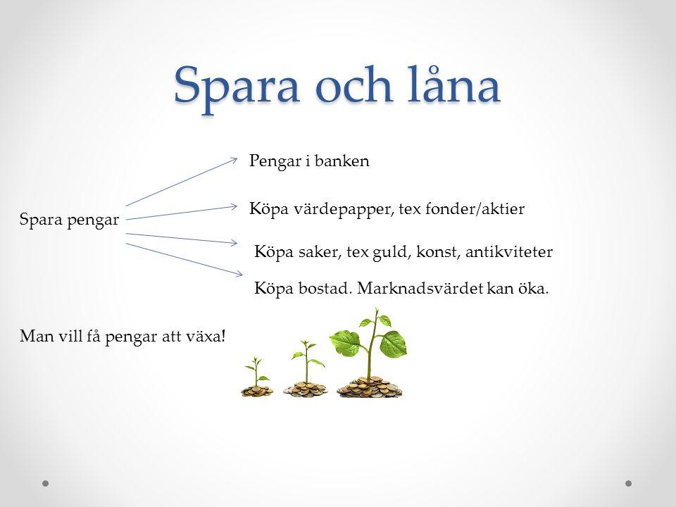 Spara och låna Spara pengar Pengar i banken Köpa värdepapper, tex fonder/aktier Köpa saker, tex guld, konst, antikviteter Köpa bostad.