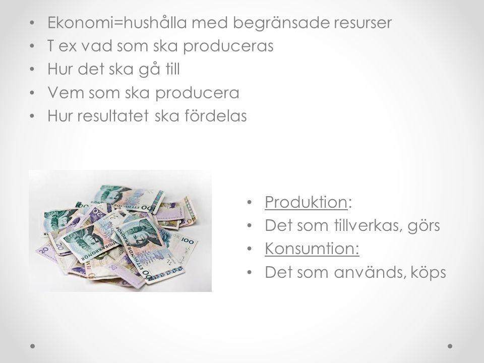 Ekonomi=hushålla med begränsade resurser T ex vad som ska produceras Hur det ska gå till Vem som ska producera Hur resultatet ska fördelas Produktion: Det som tillverkas, görs Konsumtion: Det som används, köps