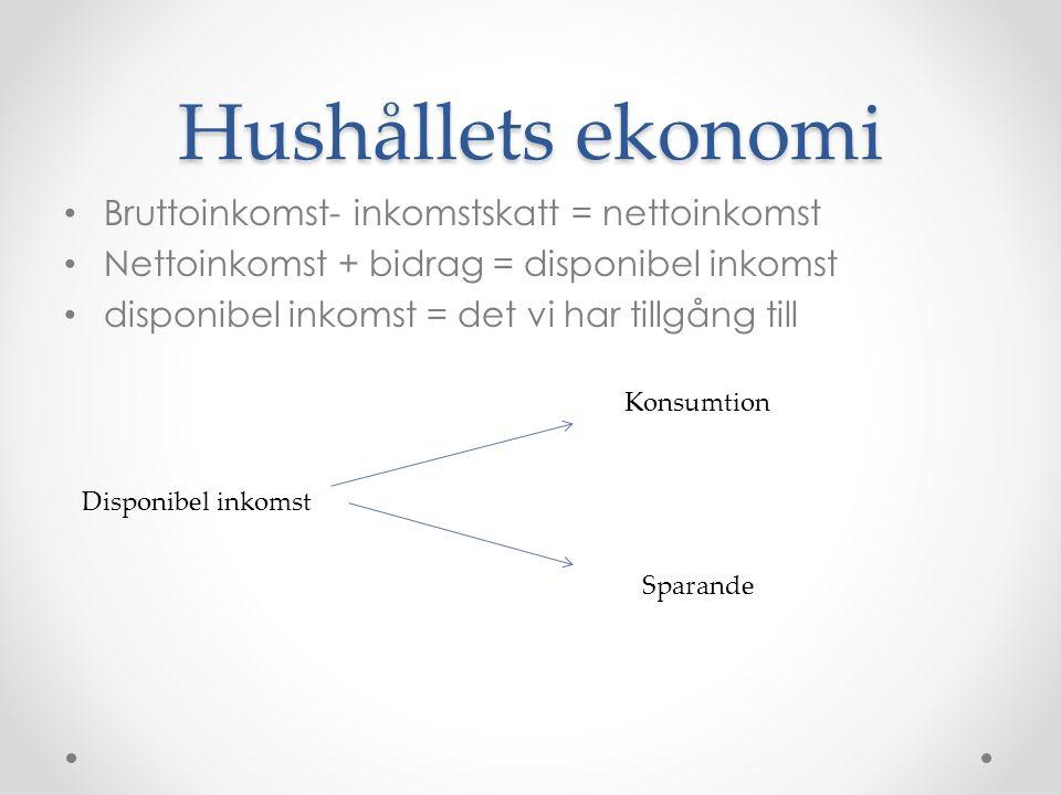 Hushållets ekonomi Bruttoinkomst- inkomstskatt = nettoinkomst Nettoinkomst + bidrag = disponibel inkomst disponibel inkomst = det vi har tillgång till Disponibel inkomst Konsumtion Sparande
