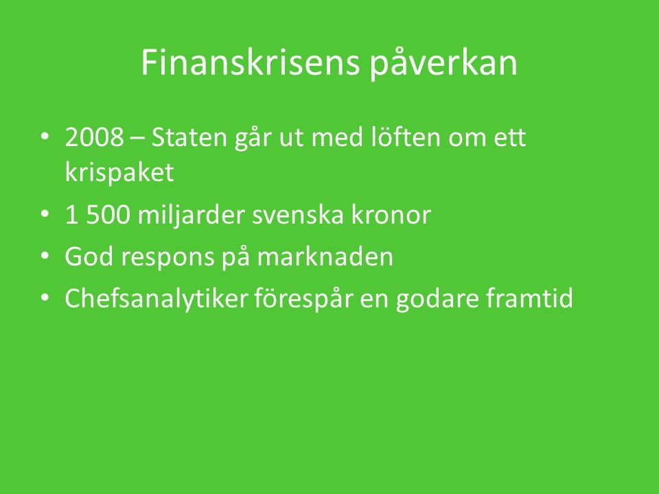 Finanskrisens påverkan 2008 – Staten går ut med löften om ett krispaket 1 500 miljarder svenska kronor God respons på marknaden Chefsanalytiker förespår en godare framtid