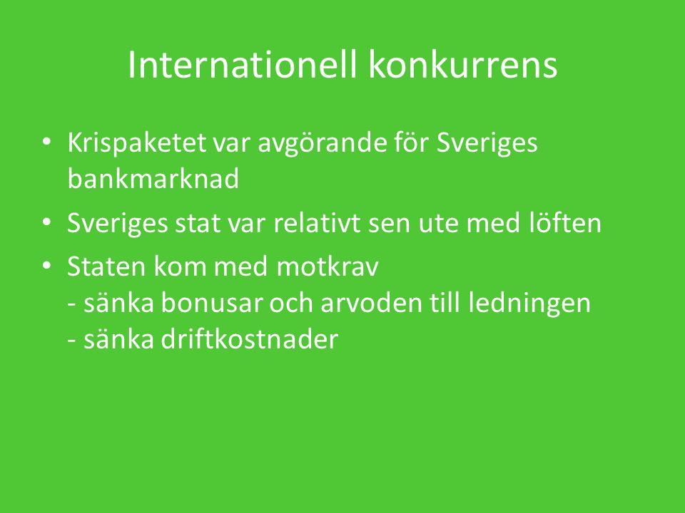 Internationell konkurrens Krispaketet var avgörande för Sveriges bankmarknad Sveriges stat var relativt sen ute med löften Staten kom med motkrav - sänka bonusar och arvoden till ledningen - sänka driftkostnader