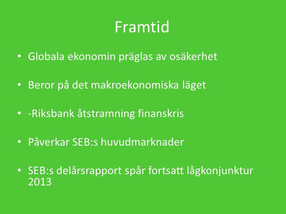 Framtid Globala ekonomin präglas av osäkerhet Beror på det makroekonomiska läget -Riksbank åtstramning finanskris Påverkar SEB:s huvudmarknader SEB:s delårsrapport spår fortsatt lågkonjunktur 2013