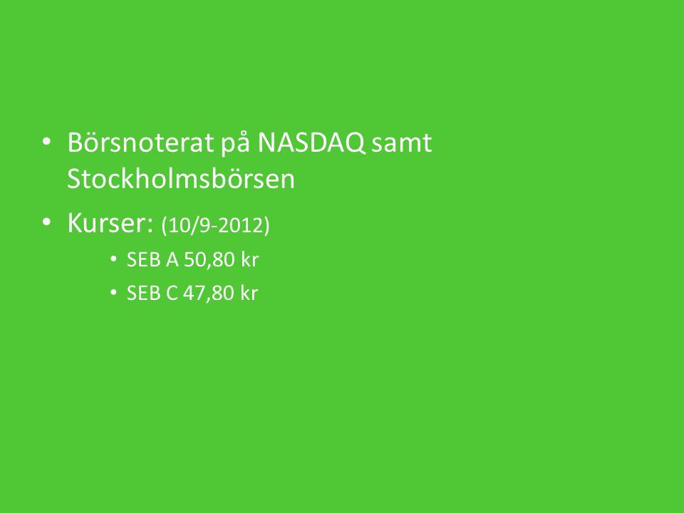 Börsnoterat på NASDAQ samt Stockholmsbörsen Kurser: (10/9-2012) SEB A 50,80 kr SEB C 47,80 kr