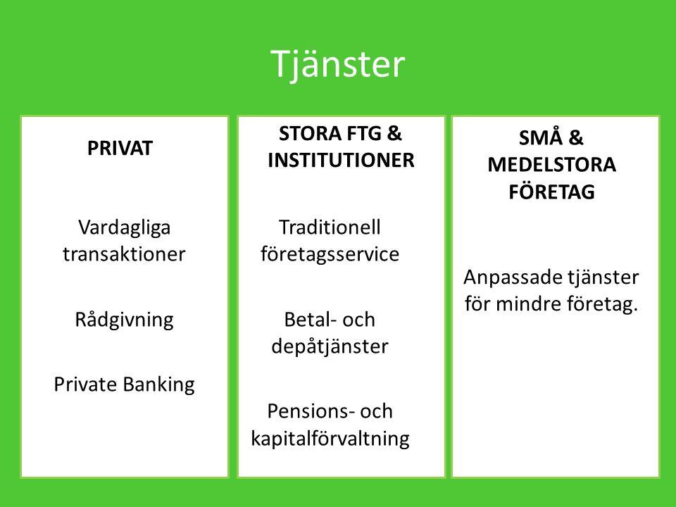 Tjänster Vardagliga transaktioner Rådgivning Private Banking Traditionell företagsservice Betal- och depåtjänster Pensions- och kapitalförvaltning Anpassade tjänster för mindre företag.