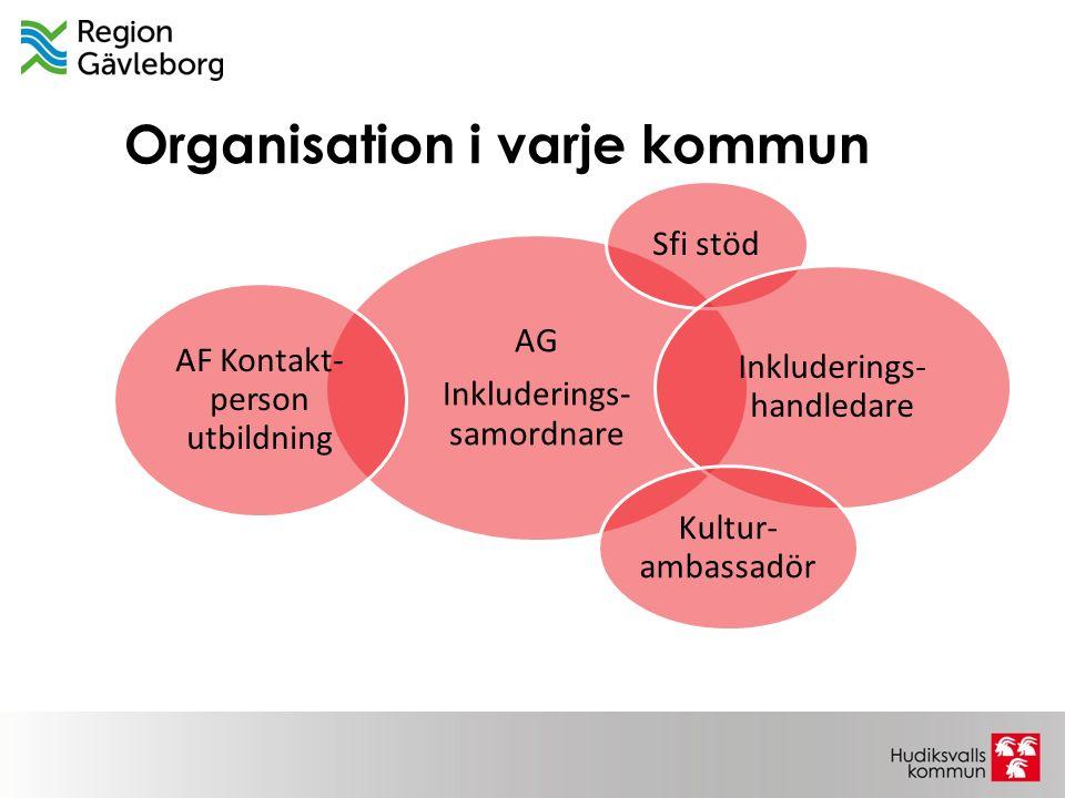 Organisation i varje kommun AG Inkluderings- samordnare Sfi stöd Inkluderings- handledare Kultur- ambassadör AF Kontakt- person utbildning