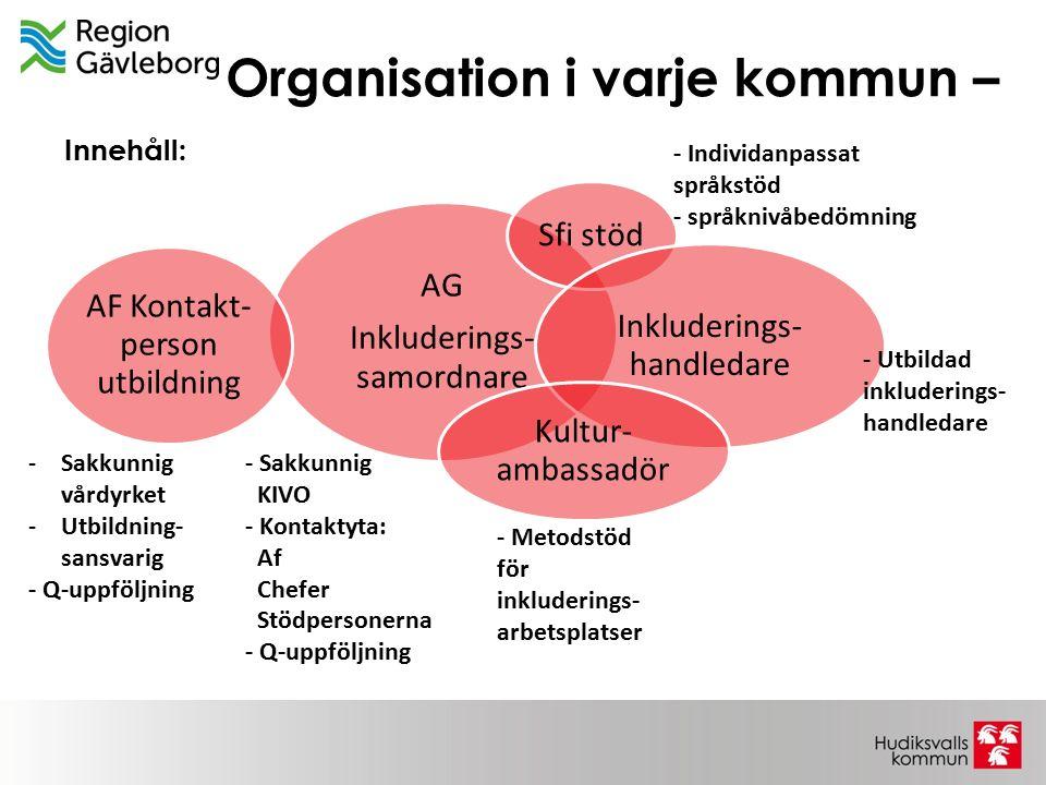 Organisation i varje kommun – AG Inkluderings- samordnare Sfi stöd Inkluderings- handledare Kultur- ambassadör AF Kontakt- person utbildning -Sakkunni