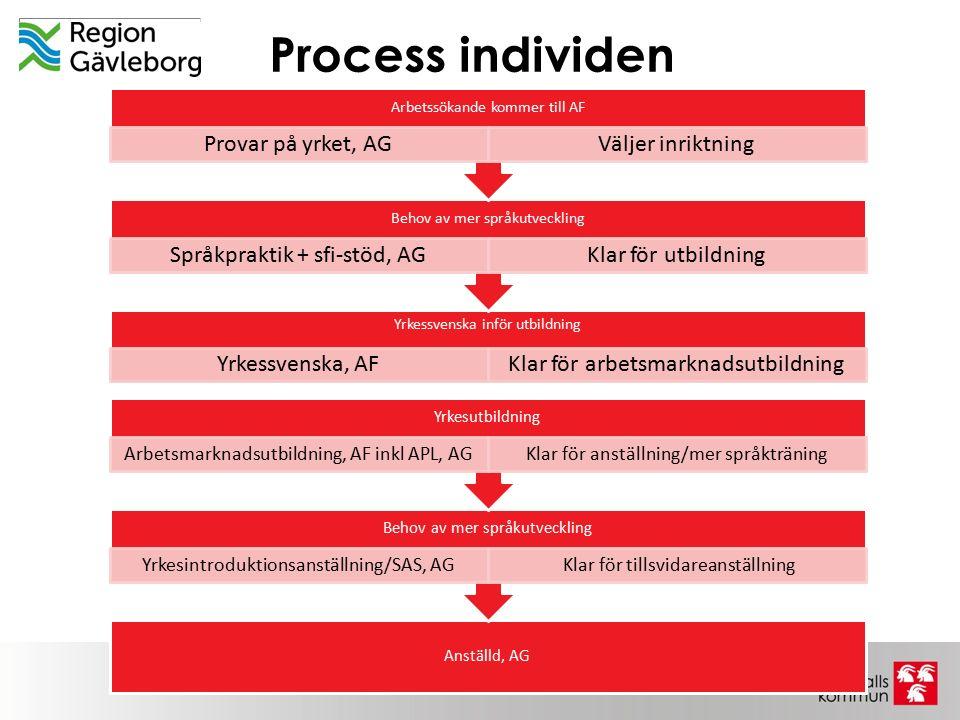 Process individen Yrkessvenska inför utbildning Yrkessvenska, AFKlar för arbetsmarknadsutbildning Behov av mer språkutveckling Språkpraktik + sfi-stöd