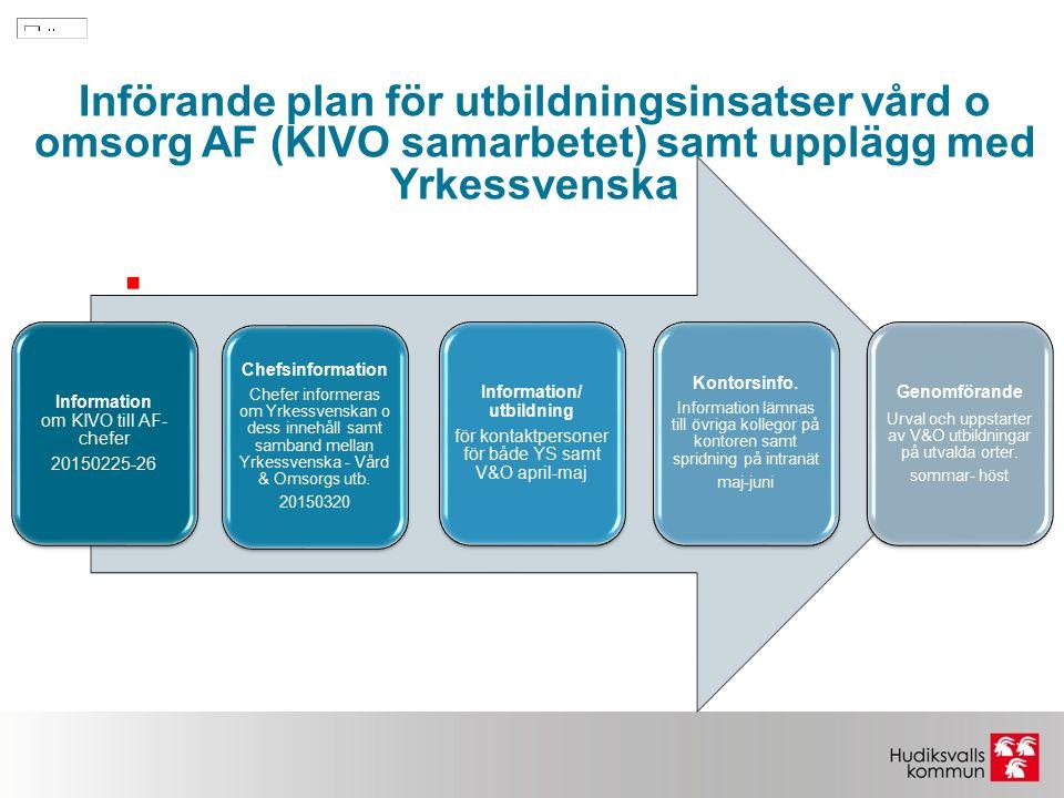  Information om KIVO till AF- chefer 20150225-26 Chefsinformation Chefer informeras om Yrkessvenskan o dess innehåll samt samband mellan Yrkessvenska