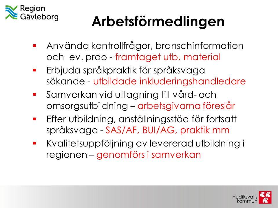Arbetsförmedlingen  Använda kontrollfrågor, branschinformation och ev. prao - framtaget utb. material  Erbjuda språkpraktik för språksvaga sökande -