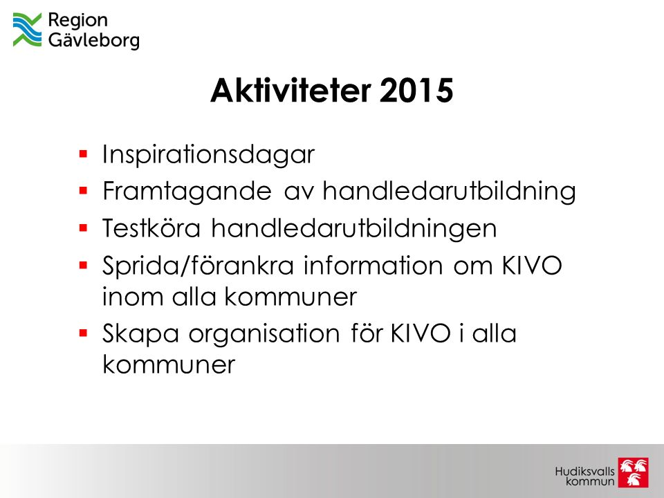 Aktiviteter 2015  Inspirationsdagar  Framtagande av handledarutbildning  Testköra handledarutbildningen  Sprida/förankra information om KIVO inom