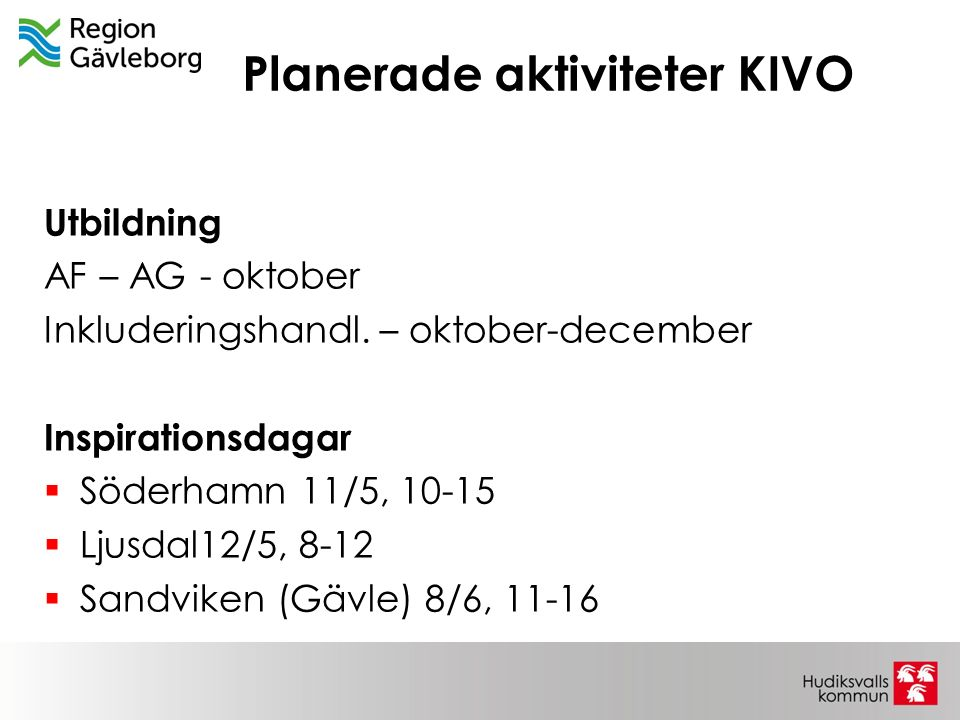 Planerade aktiviteter KIVO Utbildning AF – AG - oktober Inkluderingshandl. – oktober-december Inspirationsdagar  Söderhamn 11/5, 10-15  Ljusdal12/5,