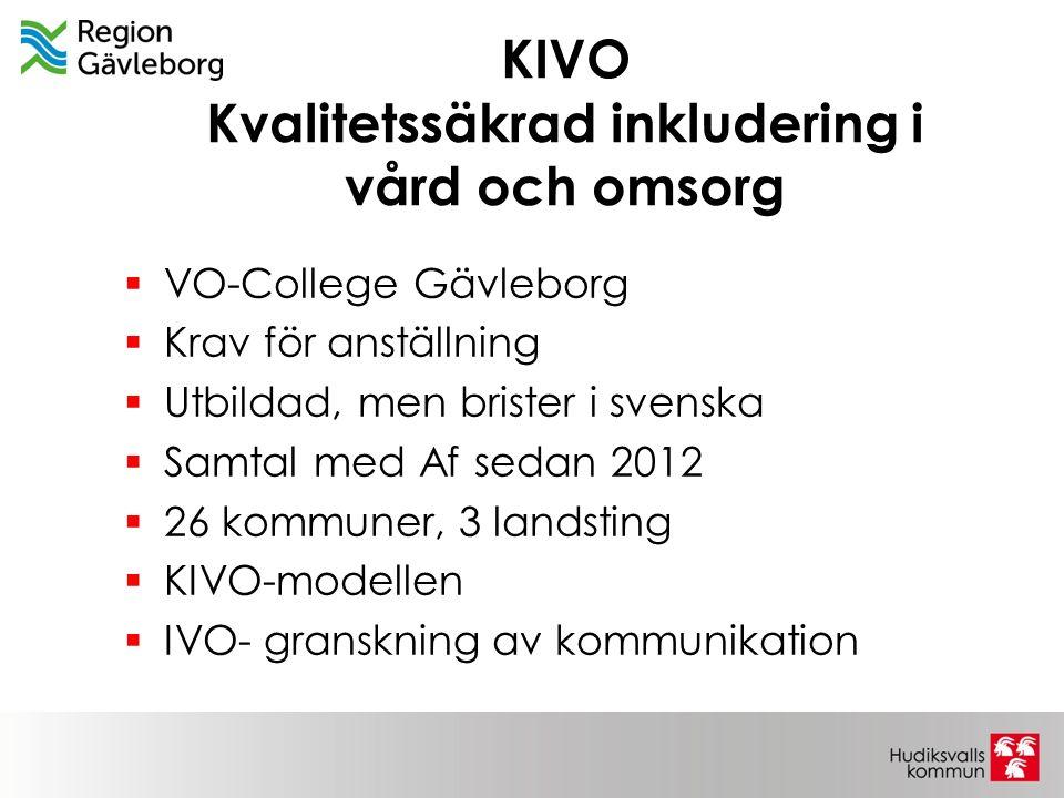 KIVO Kvalitetssäkrad inkludering i vård och omsorg  VO-College Gävleborg  Krav för anställning  Utbildad, men brister i svenska  Samtal med Af sed