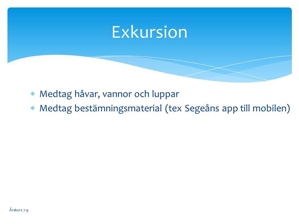  Medtag håvar, vannor och luppar  Medtag bestämningsmaterial (tex Segeåns app till mobilen) Exkursion Årskurs 7-9