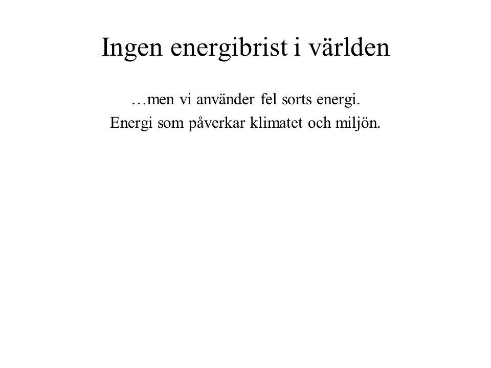 Ingen energibrist i världen …men vi använder fel sorts energi. Energi som påverkar klimatet och miljön.