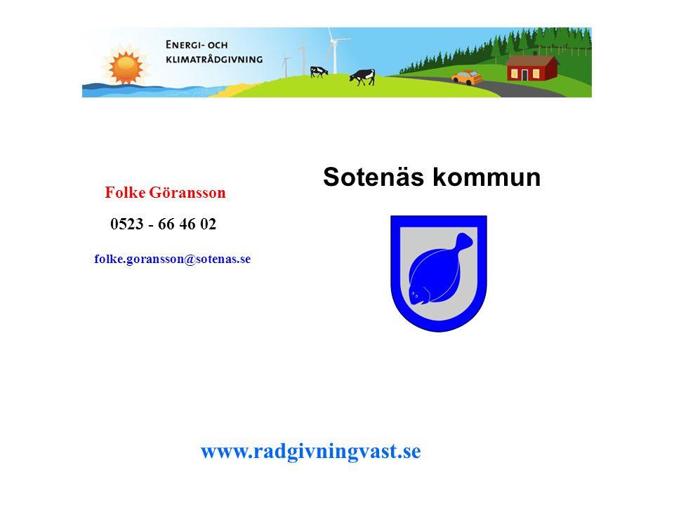 Sotenäs kommun www.radgivningvast.se Folke Göransson 0523 - 66 46 02 folke.goransson@sotenas.se