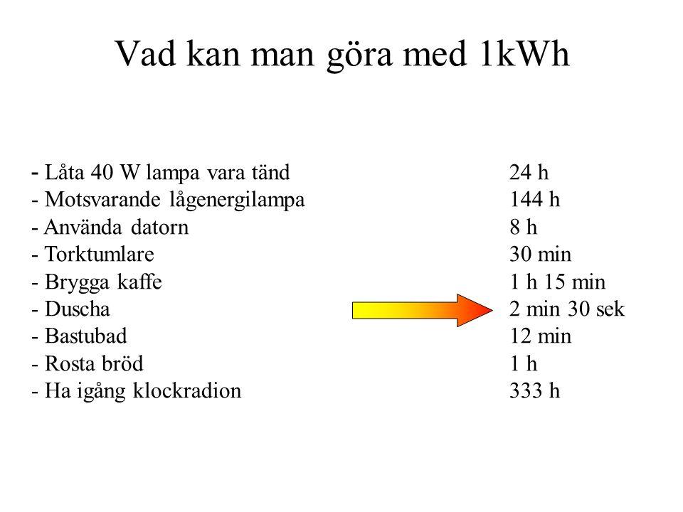 Vad kan man göra med 1kWh - Låta 40 W lampa vara tänd24 h - Motsvarande lågenergilampa144 h - Använda datorn8 h - Torktumlare30 min - Brygga kaffe1 h 15 min - Duscha2 min 30 sek - Bastubad12 min - Rosta bröd1 h - Ha igång klockradion333 h