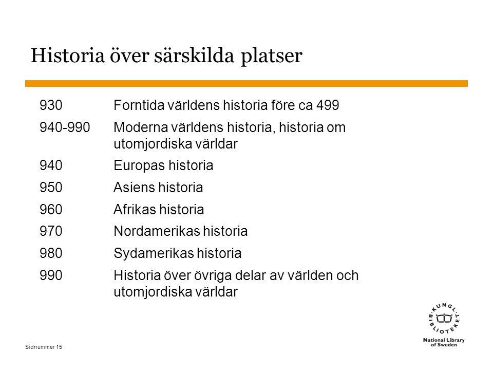 Sidnummer 15 Historia över särskilda platser 930Forntida världens historia före ca 499 940-990Moderna världens historia, historia om utomjordiska värl