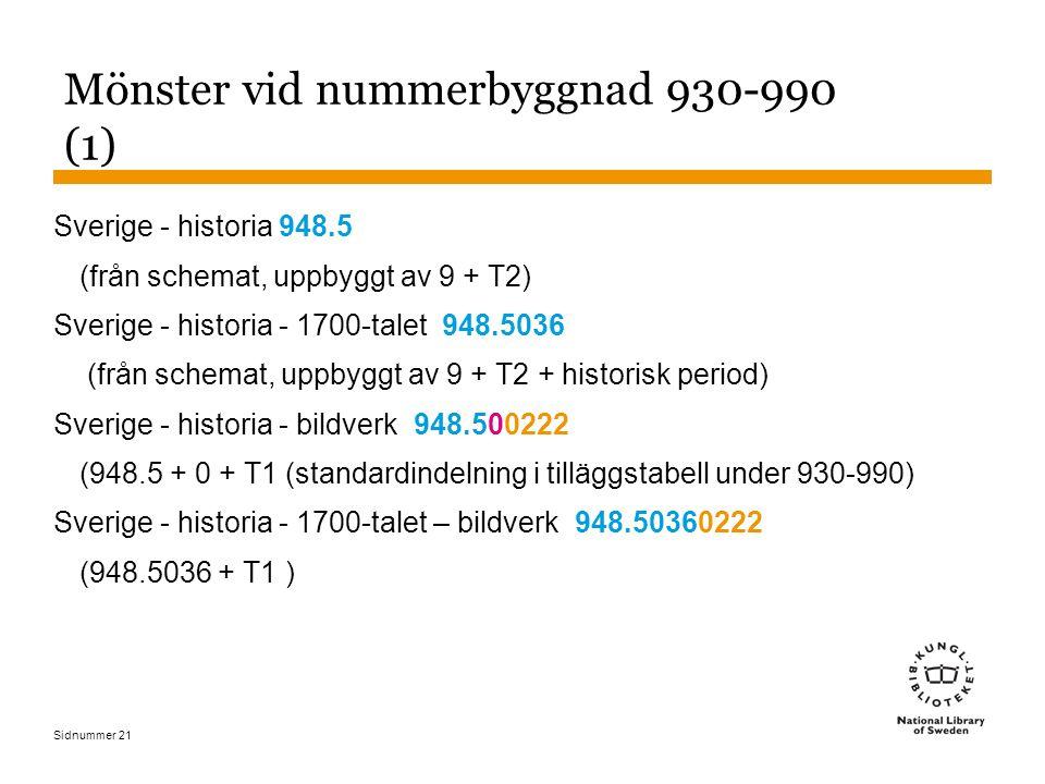 Sidnummer 21 Mönster vid nummerbyggnad 930-990 (1) Sverige - historia 948.5 (från schemat, uppbyggt av 9 + T2) Sverige - historia - 1700-talet 948.503