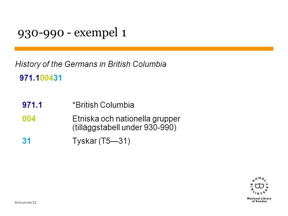 Sidnummer 23 930-990 - exempel 1 History of the Germans in British Columbia 971.100431 971.1*British Columbia 004Etniska och nationella grupper (tillä