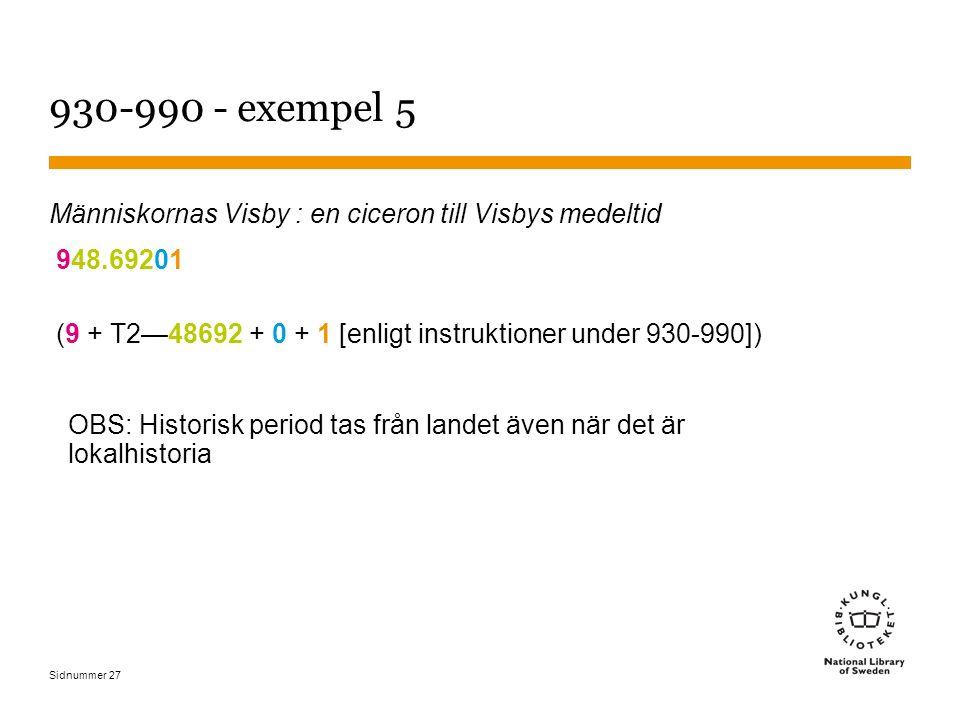 Sidnummer 27 930-990 - exempel 5 Människornas Visby : en ciceron till Visbys medeltid 948.69201 (9 + T2—48692 + 0 + 1 [enligt instruktioner under 930-