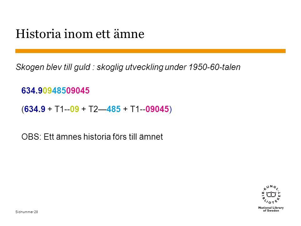 Sidnummer 28 Historia inom ett ämne Skogen blev till guld : skoglig utveckling under 1950-60-talen 634.90948509045 (634.9 + T1--09 + T2—485 + T1--0904