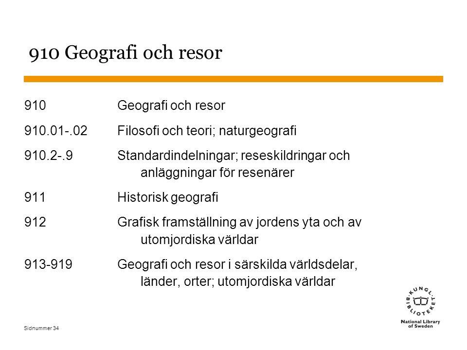Sidnummer 34 910 Geografi och resor 910.01-.02Filosofi och teori; naturgeografi 910.2-.9Standardindelningar; reseskildringar och anläggningar för rese
