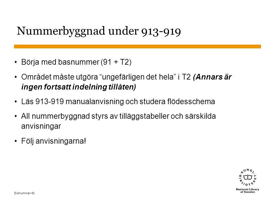 """Sidnummer 40 Nummerbyggnad under 913-919 Börja med basnummer (91 + T2) Området måste utgöra """"ungefärligen det hela"""" i T2 (Annars är ingen fortsatt ind"""