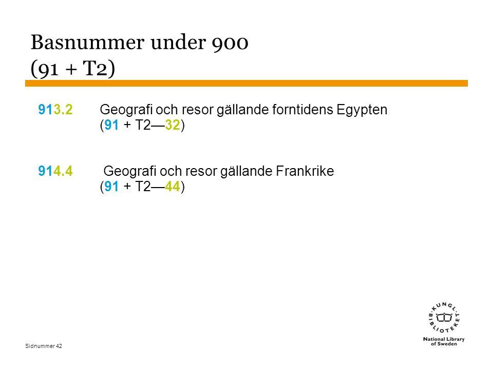 Sidnummer 42 Basnummer under 900 (91 + T2) 913.2Geografi och resor gällande forntidens Egypten (91 + T2—32) 914.4 Geografi och resor gällande Frankrik