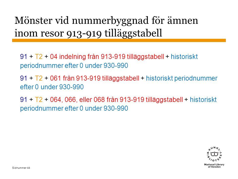 Sidnummer 44 Mönster vid nummerbyggnad för ämnen inom resor 913-919 tilläggstabell 91 + T2 + 04 indelning från 913-919 tilläggstabell + historiskt per
