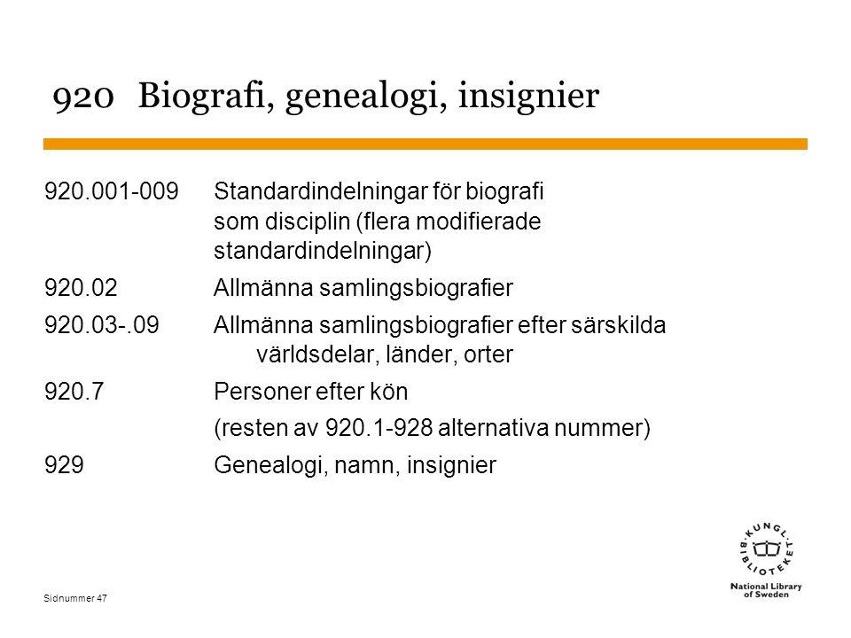 Sidnummer 47 920Biografi, genealogi, insignier 920.001-009Standardindelningar för biografi som disciplin (flera modifierade standardindelningar) 920.0