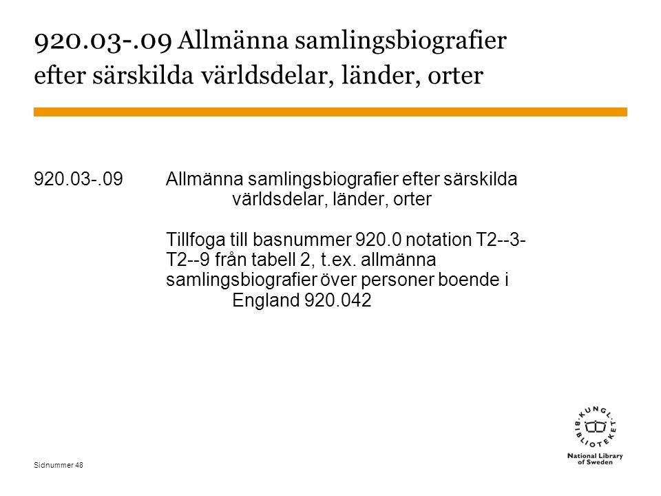 Sidnummer 48 920.03-.09 Allmänna samlingsbiografier efter särskilda världsdelar, länder, orter 920.03-.09 Allmänna samlingsbiografier efter särskilda