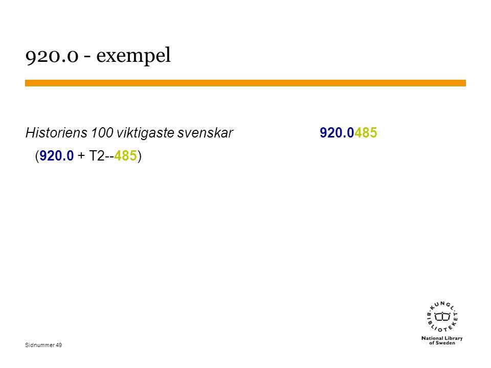 Sidnummer 49 920.0 - exempel Historiens 100 viktigaste svenskar920.0485 (920.0 + T2--485)