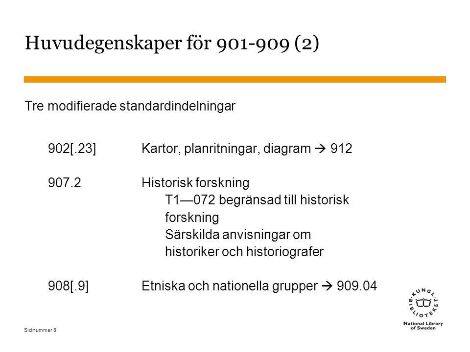 Sidnummer 8 Huvudegenskaper för 901-909 (2) Tre modifierade standardindelningar 902[.23]Kartor, planritningar, diagram  912 907.2Historisk forskning