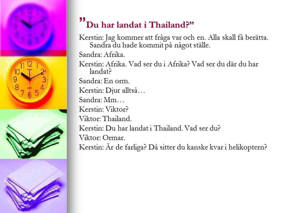 Du har landat i Thailand Kerstin: Jag kommer att fråga var och en.