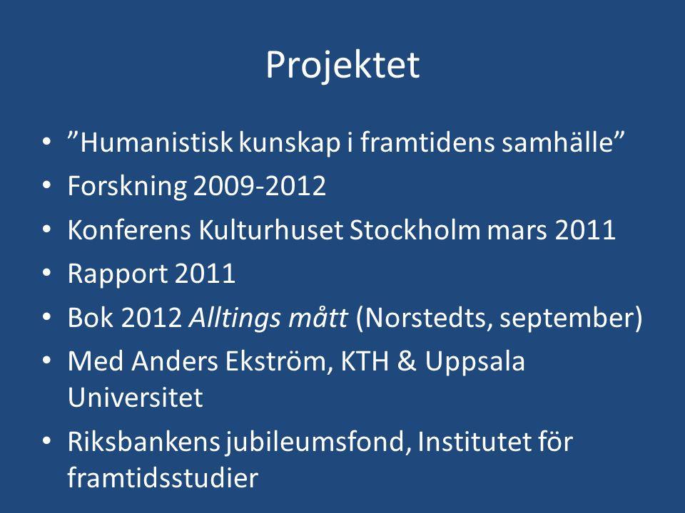 "Projektet ""Humanistisk kunskap i framtidens samhälle"" Forskning 2009-2012 Konferens Kulturhuset Stockholm mars 2011 Rapport 2011 Bok 2012 Alltings måt"