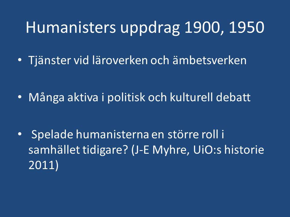 Humanisters uppdrag 1900, 1950 Tjänster vid läroverken och ämbetsverken Många aktiva i politisk och kulturell debatt Spelade humanisterna en större ro