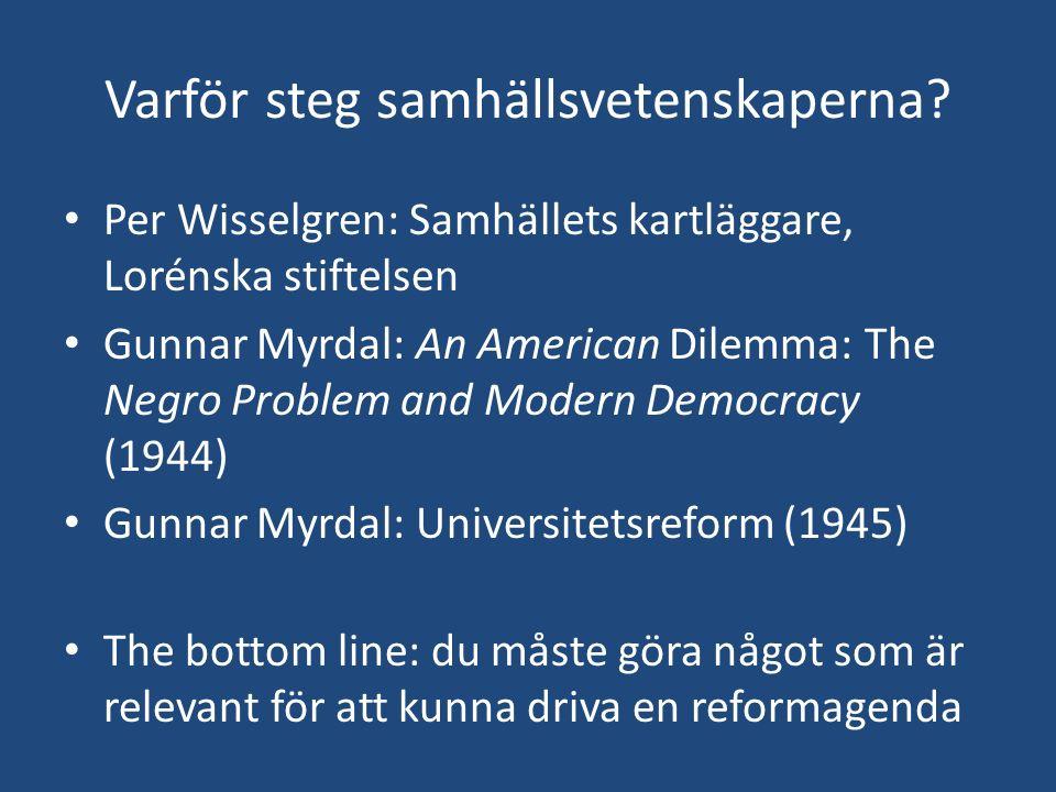 Varför steg samhällsvetenskaperna? Per Wisselgren: Samhällets kartläggare, Lorénska stiftelsen Gunnar Myrdal: An American Dilemma: The Negro Problem a