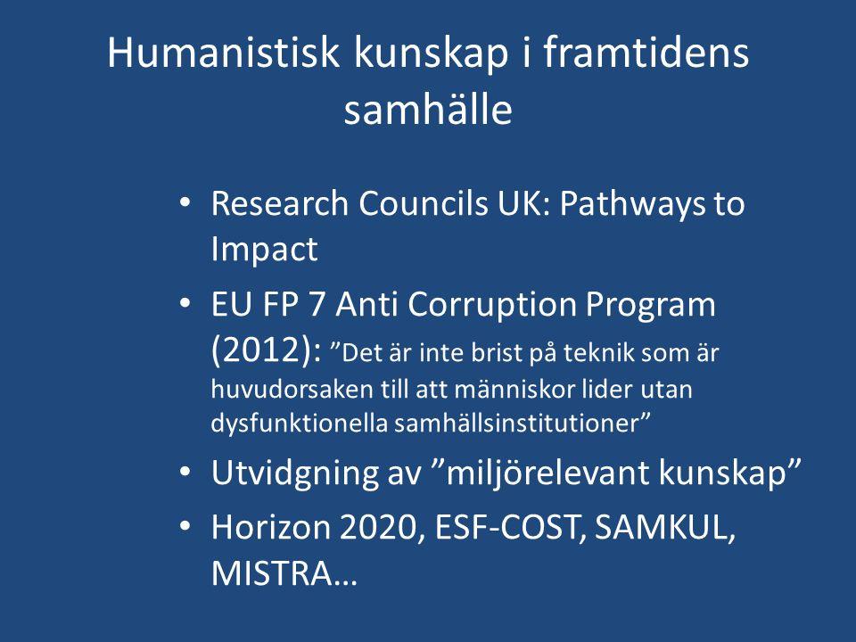 """Humanistisk kunskap i framtidens samhälle Research Councils UK: Pathways to Impact EU FP 7 Anti Corruption Program (2012): """"Det är inte brist på tekni"""